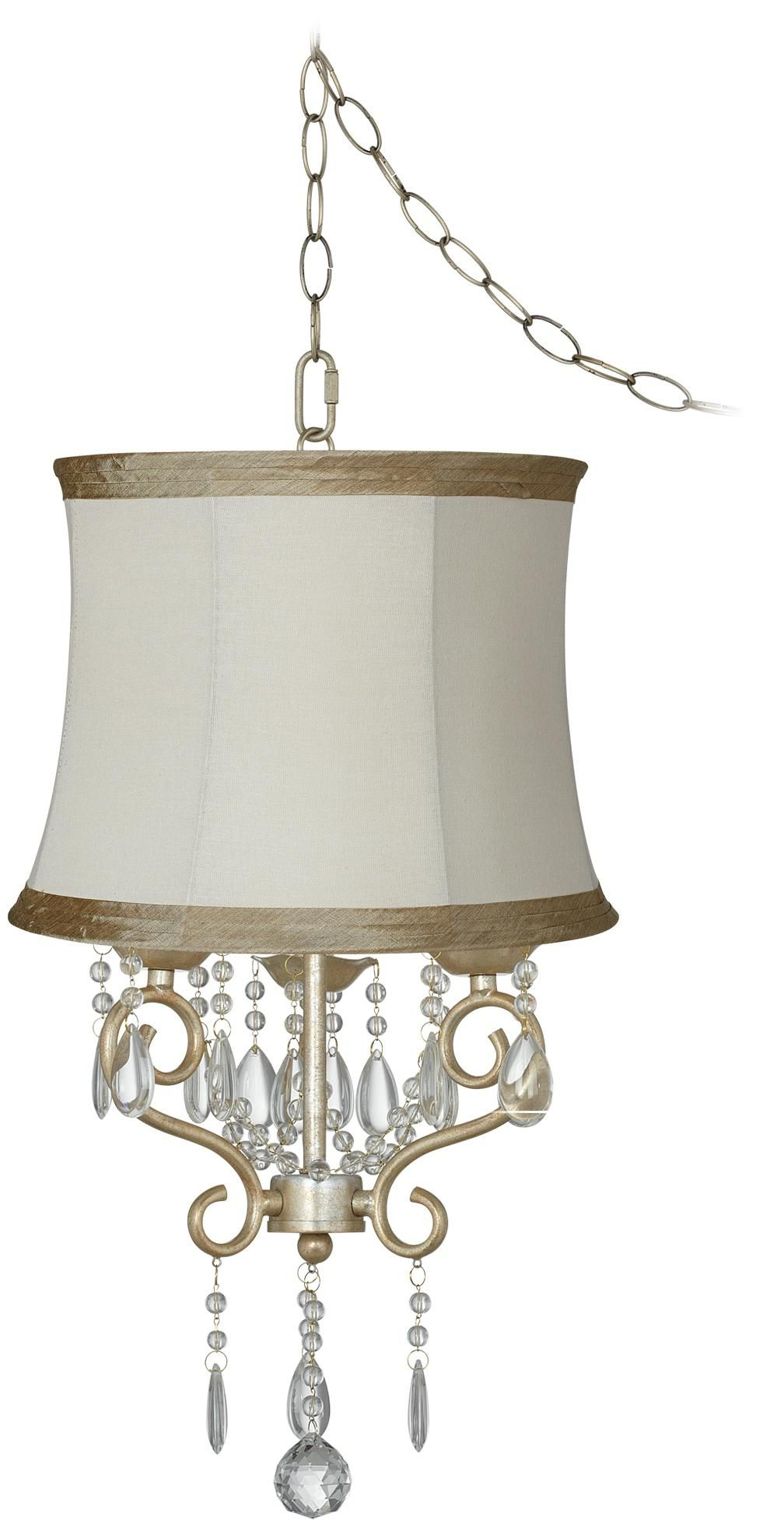 """Conti 16"""" Wide Mini Swag Chandelier with Ivory Taupe Shade"""