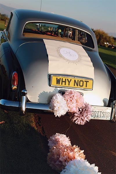 Blush And Neutral Color Inspiration Wedding Getaway Car
