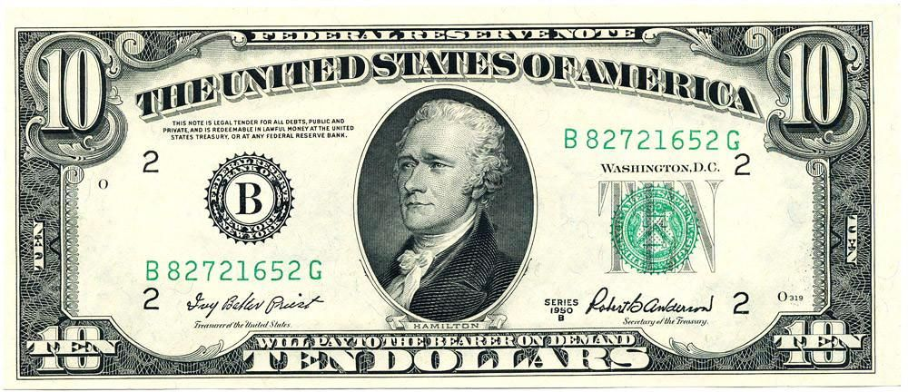 Fr 2012 B Ten Dollar Federal Reserve Note Series 1950b Choice
