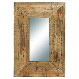 Wall mirror with a distressed wood frame.   Product: Wall mirrorConstruction Material: Wood and mirrored glassColor: Distressed naturalDimensions: 30 H x 21 W x 3 D