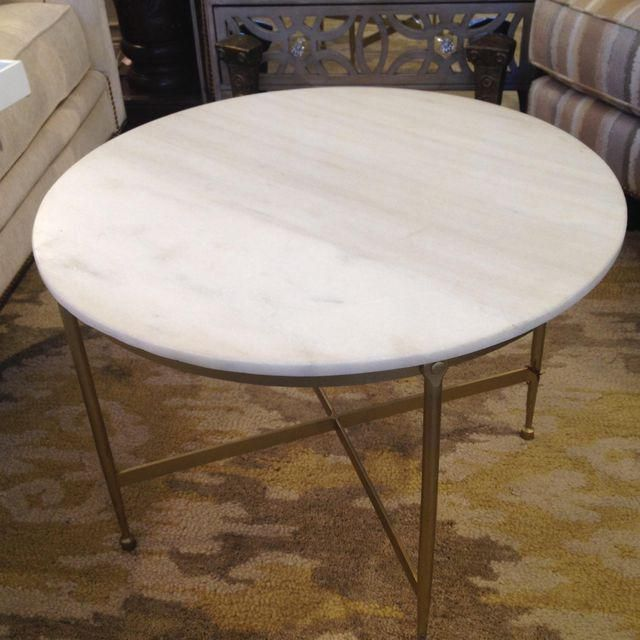Round White Granite Topped Metal Coffee Table Tops And