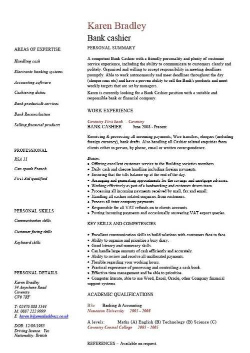 A popular CV template design that is well laid out and looks - resume skills for bank teller