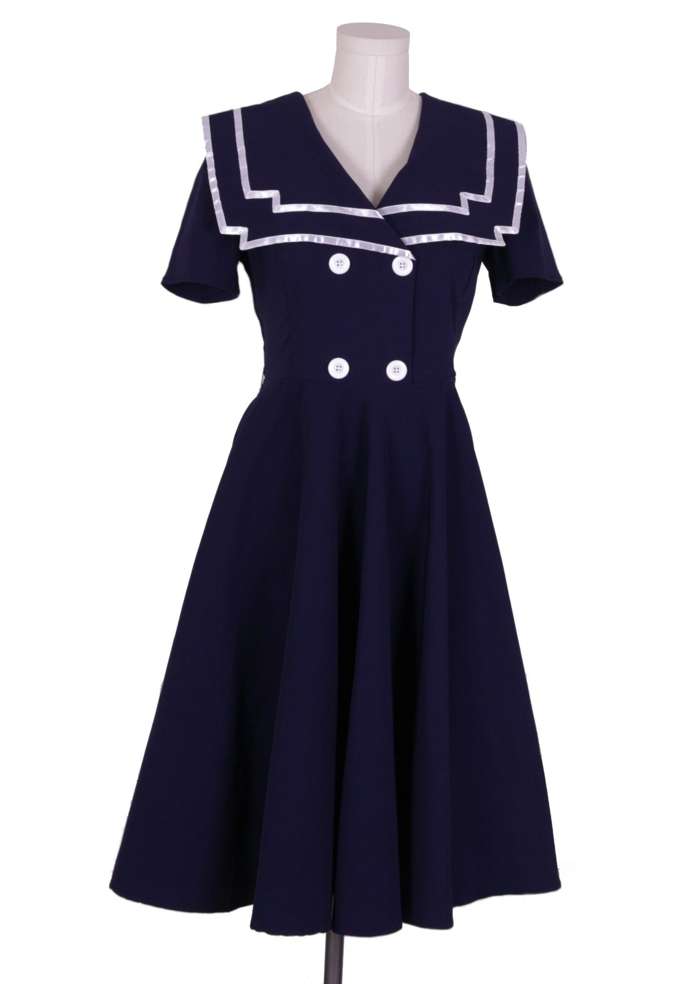 1940s Sails Through Sophistication Vintage Navy Dress Sailor Dress Vintage Dresses 1950s Rockabilly Dress