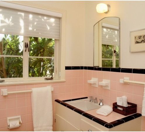 Pink And Black Retro Tile Bathroom Probably From The 1940s Or