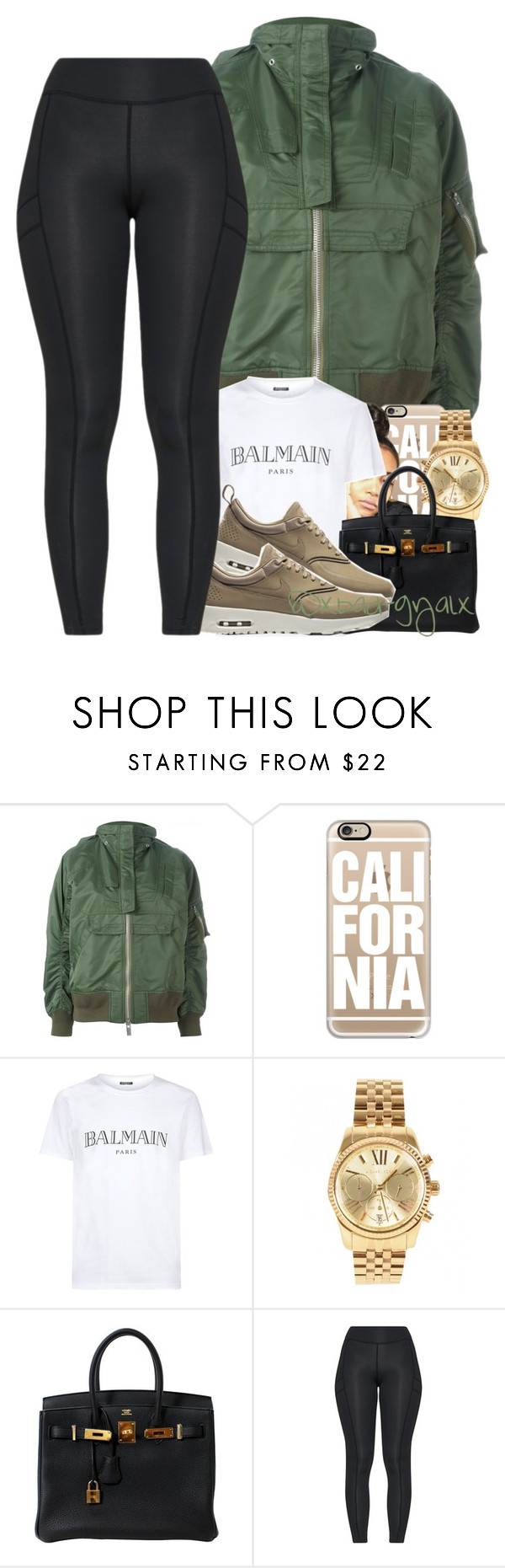 """""""{I made a decision last night, that I would die for it}"""" by xbad-gyalx ❤ liked on Polyvore featuring Sacai, Casetify, Balmain, Michael Kors and Hermès"""
