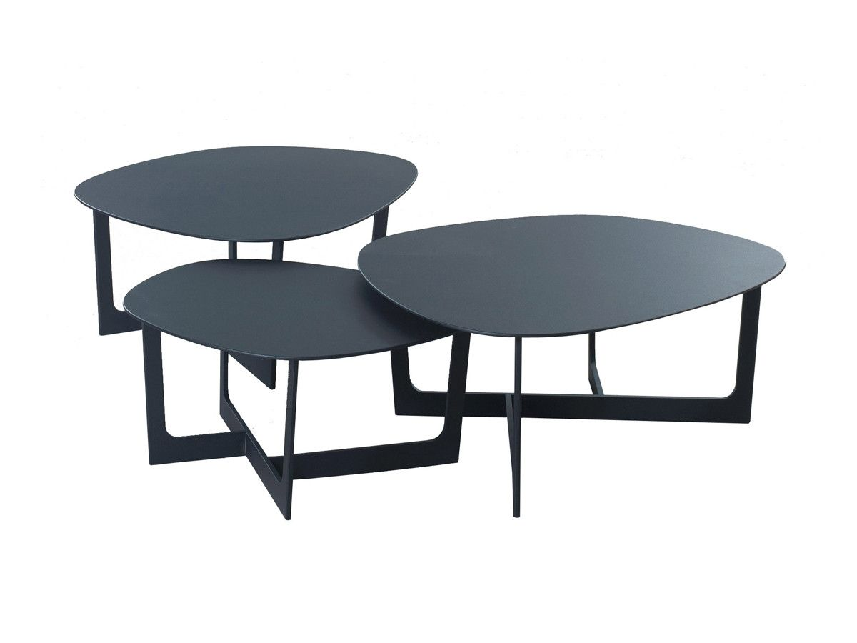 classic nesting coffee table with unique shaped three coffee table top design also solid black flat style metal materials frame
