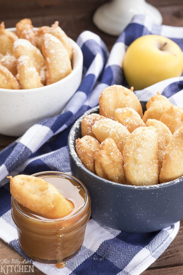 Funnel cake apple fries fresh apple slices are dipped in