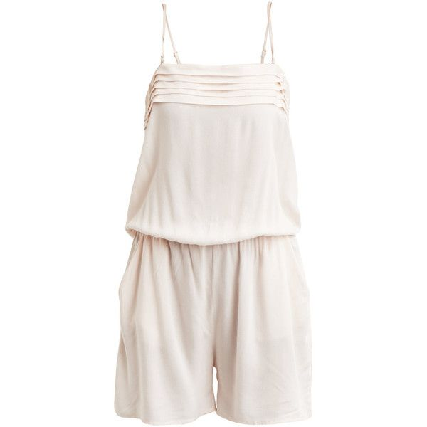 Vila Vieverdine - Playsuit (2,025 PHP) ❤ liked on Polyvore featuring jumpsuits, rompers, peach blush, vila, tall romper, playsuit romper, white rompers and white romper
