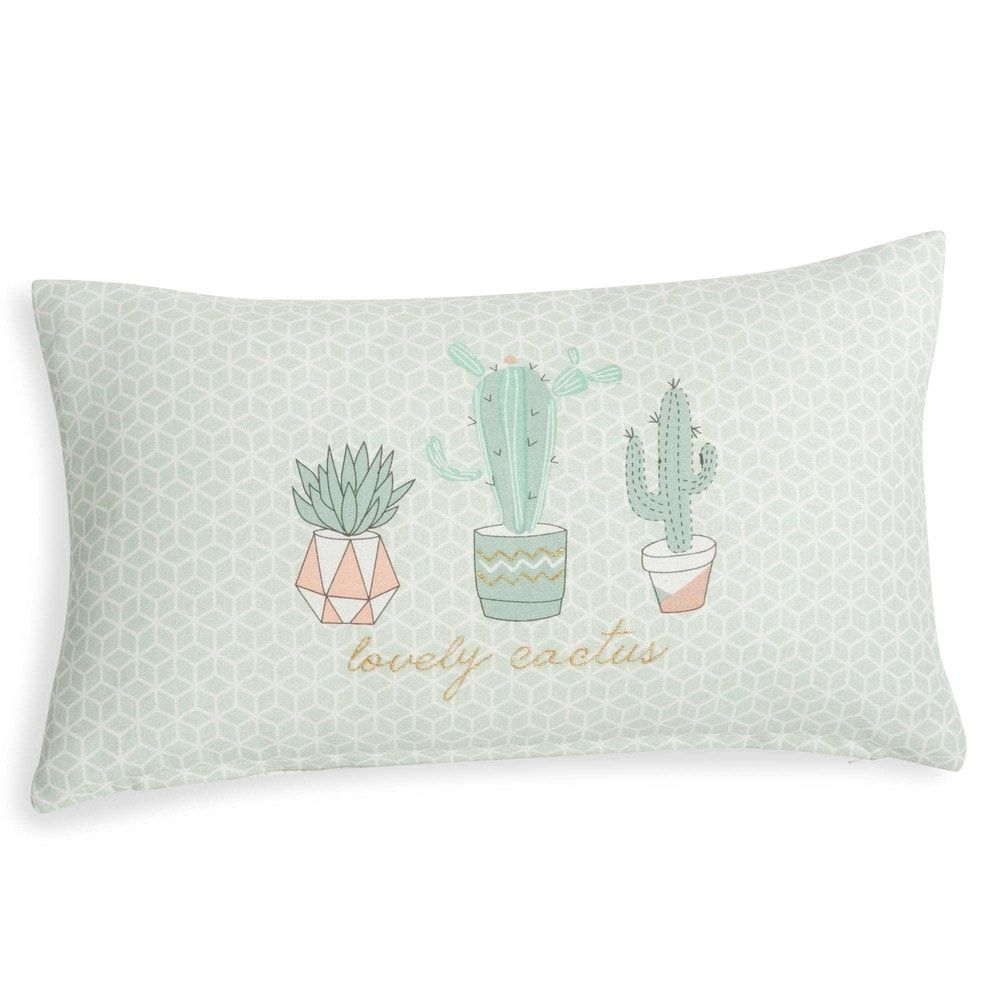 housse de coussin en coton blanc motifs 30x50cm cactus family maisons du monde. Black Bedroom Furniture Sets. Home Design Ideas