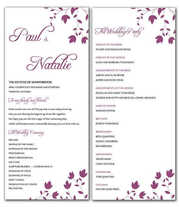 DIY Raspberry Wine Wild Flowers Wedding Program Microsoft Word