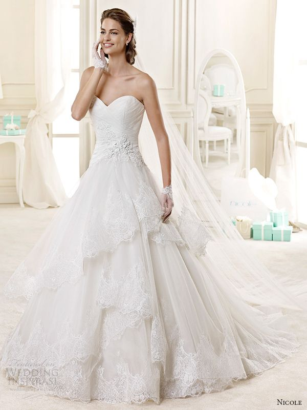nicole spose bridal 2015 style 16 niab15093iv princess a line sweetheart neckline strapless wedding dress