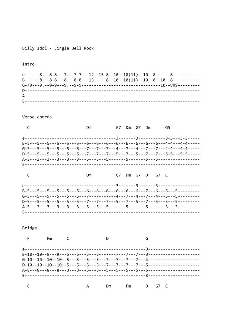 Billy Idol Jingle Bell Rock Tab Billy Idol Rock Guitar Jingle Bells