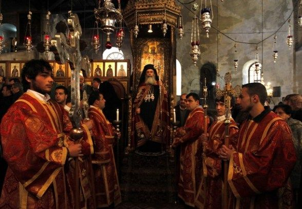 greek orthodox patriarch of jerusalem metropolitan theophilos c leads the orthodox christmas procession inside