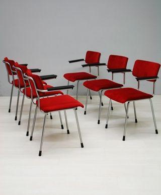 6x Gispen stoel 1235 / 6x Gipsen chair 1235 13952/3/4