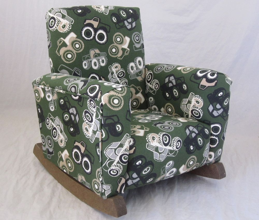 New Childrens Upholstered Rocking Chair Off Road Camo Toddle Rock