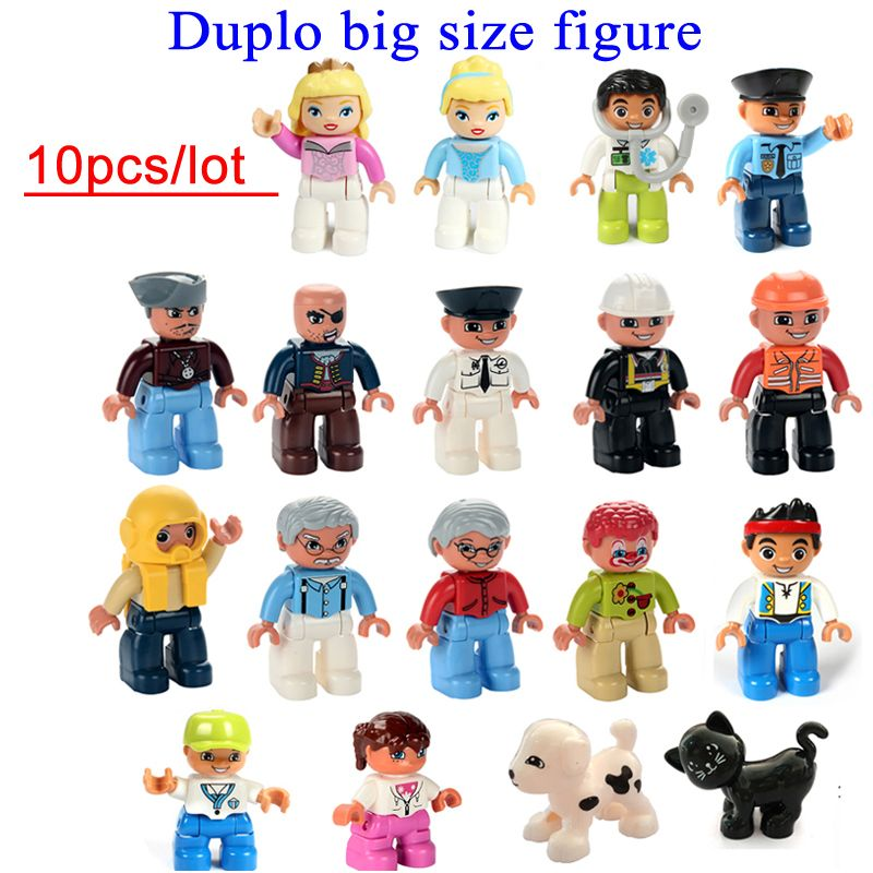 wholesale 10pcs/lot duplo big size characters building block parts ...