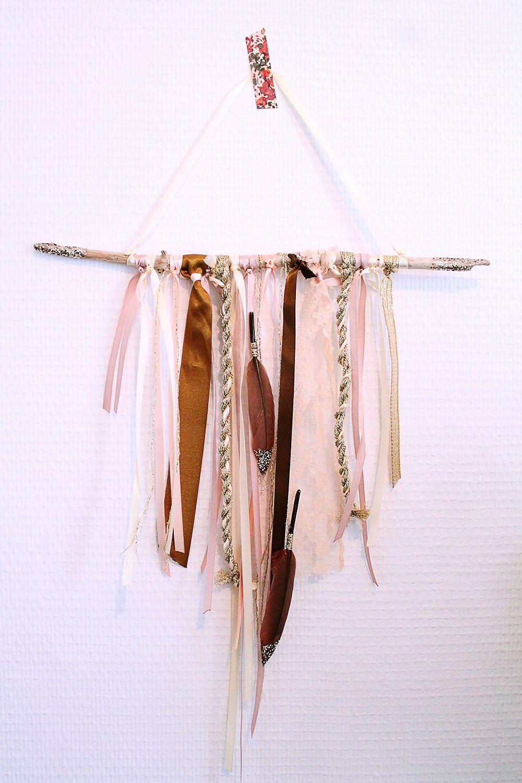 Mademoiselle claudine d coration fait main bois flott rubn laine plumes boutique d co - Tenture chambre bebe ...