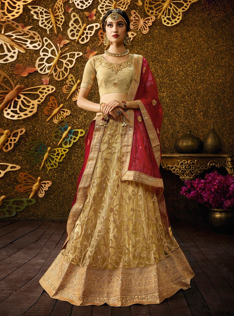 Free wedding dress catalogs  Beige Net Embroidery Work A Line Lehenga Choli   A Line