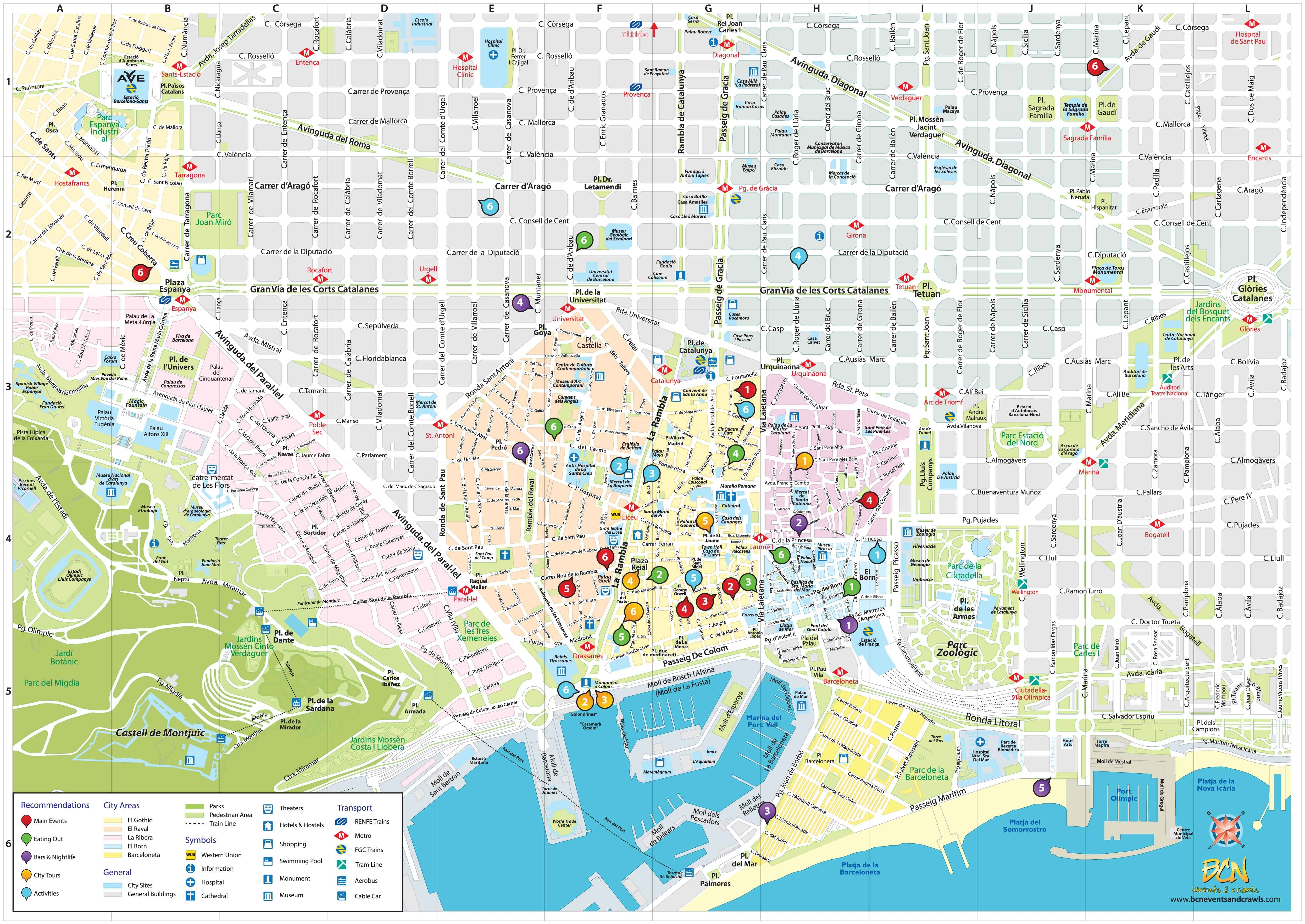 Mapas Turisticos De Monumentos Em Barcelona Espanha Barcelona