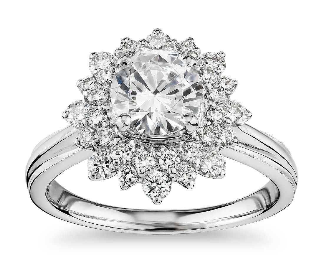 ZAC Zac Posen Double Sunburst Diamond Halo Engagement Ring