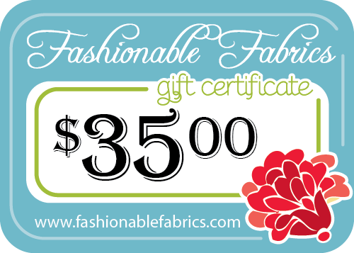 Adventures-In-Mommy-Land: $35 Fashionable Fabrics GIVEAWAY. Contest will run until Monday, August 20 at midnight est.