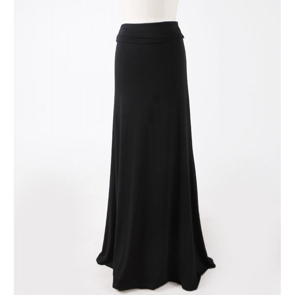 Solid Black Maxi Skirt - Dress Ala