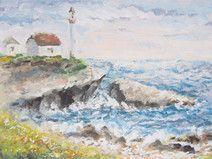 Meer Malerei, Leuchtturm, 29,5 x 19.8 cm, Acryl
