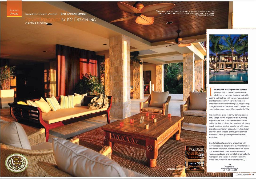K2 Design Bali Style Home Wins Best Interior Award For 2012