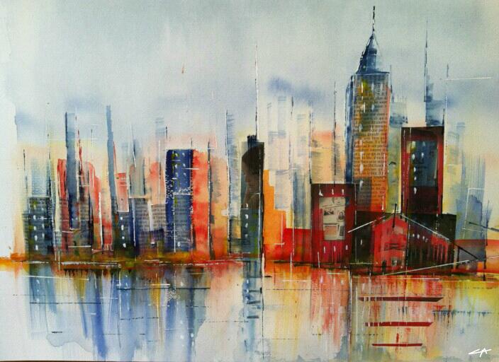 New-York, Aquarelle | Peinture | Pinterest