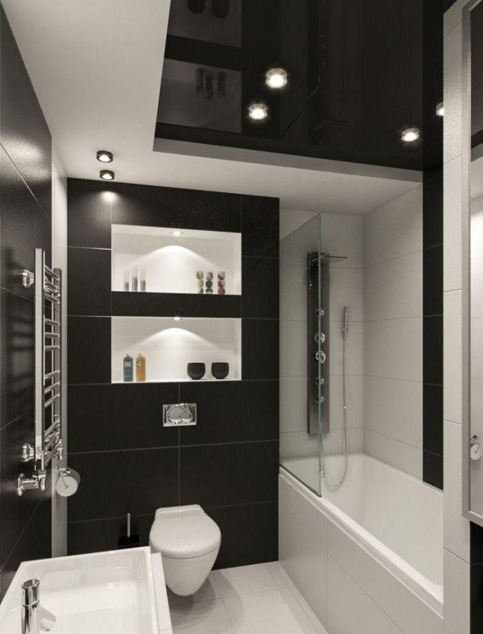 Kleines Badezimmer Fliesen Ideen Schwarz Weiss Kombination Matt