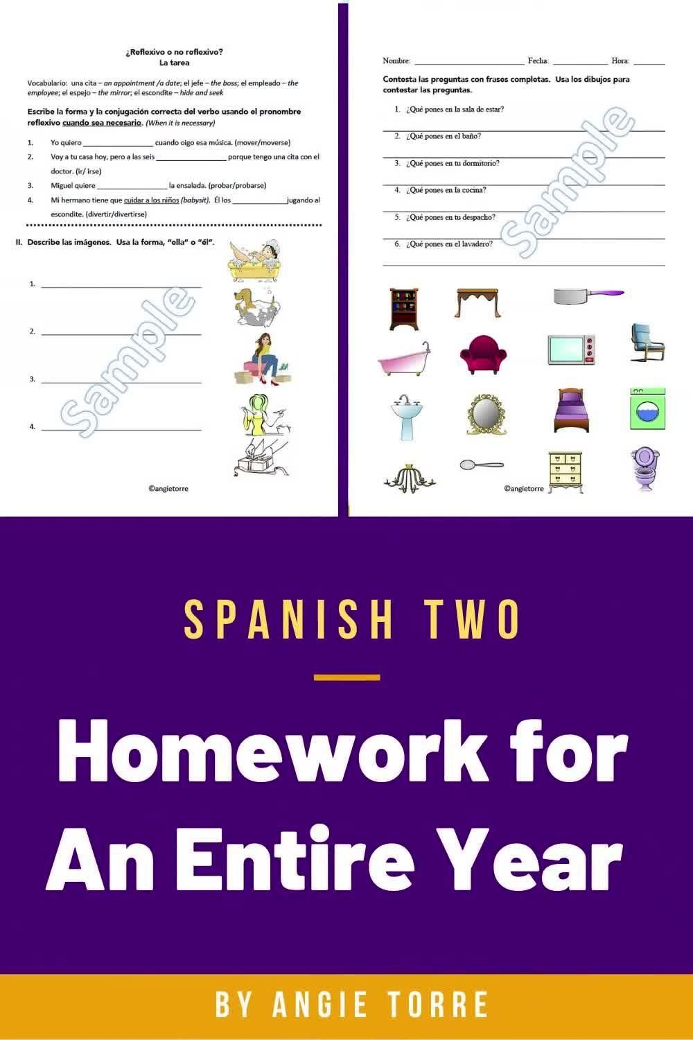 Spanish Two Homework For An Entire Year Best Powerpoints Video Video In 2021 Language Resources Spanish Resources Cloze Activity [ 1500 x 1000 Pixel ]