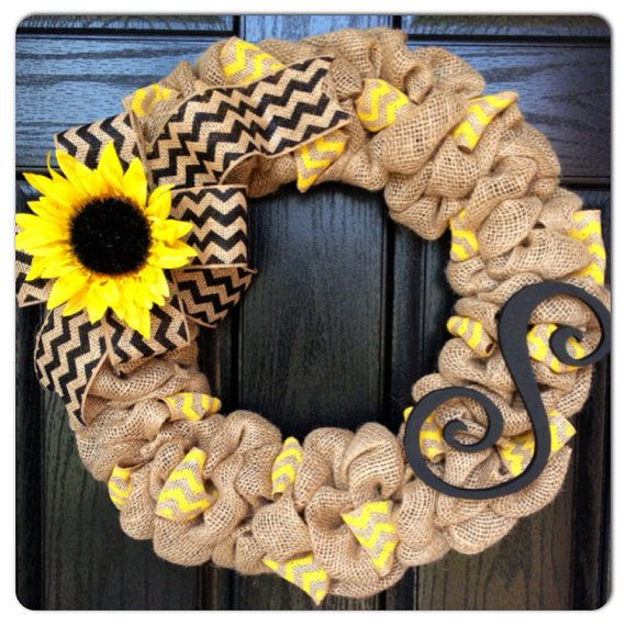 Photo of Items similar to FALL SPECIAL!! Chevron Burlap Wreath with Initial- Front Door Wreath- Monogram Wrea Sunflower Wreath- Summer Wreath on Etsy