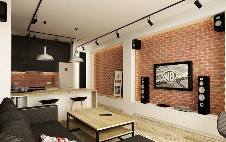Wohnzimmer im Industrial Stil - schwarze Strahler und Home - wohnzimmer ideen fernseher