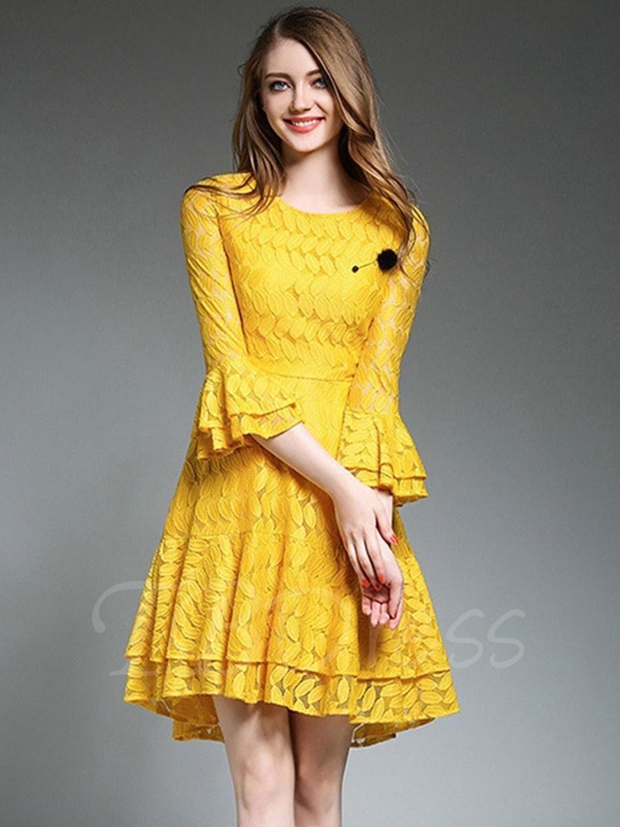 Tbdress tbdress bell sleeve tiered womens lace dress adorewe