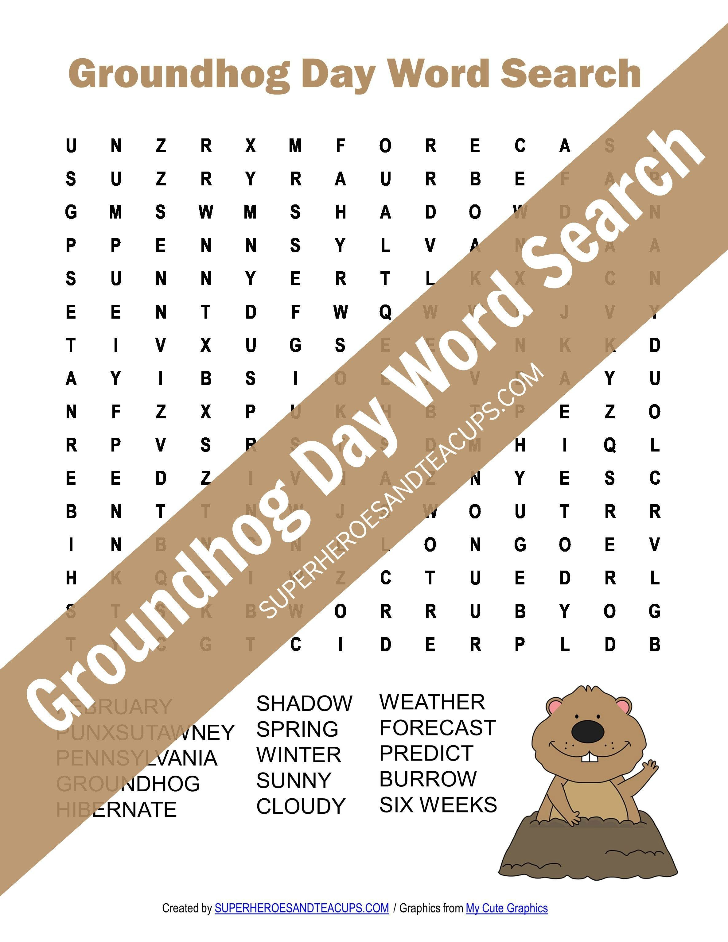 Groundhog Day Word Search Free Printable With Images