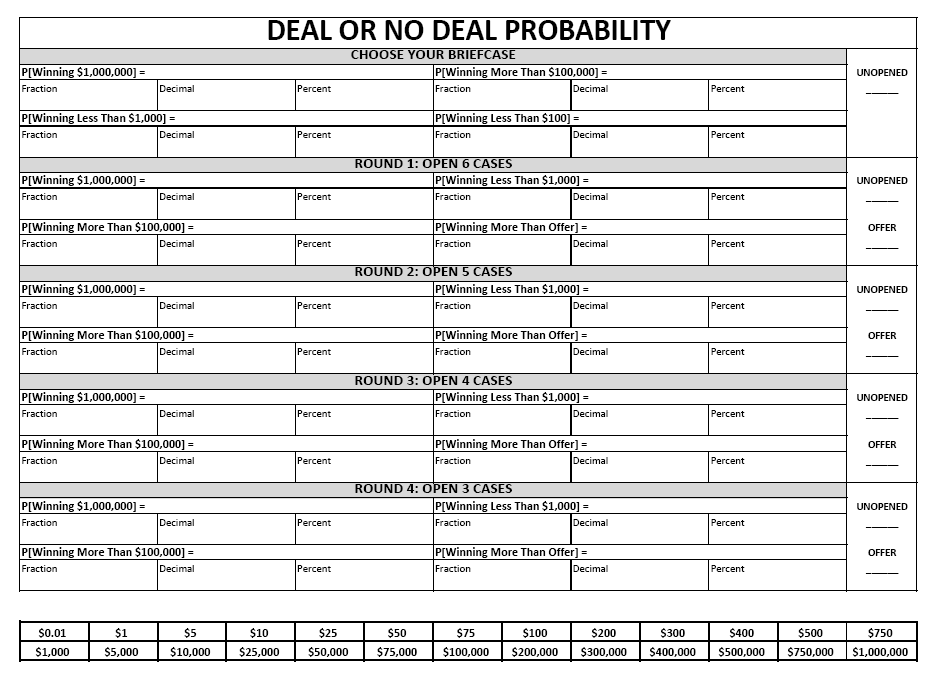 Math Love Teaching Probability with Deal or No Deal – Probability Maths Worksheets