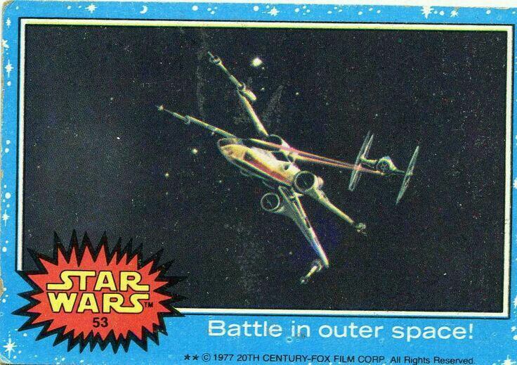 1977 topps star wars card blue series 53 battle in outer