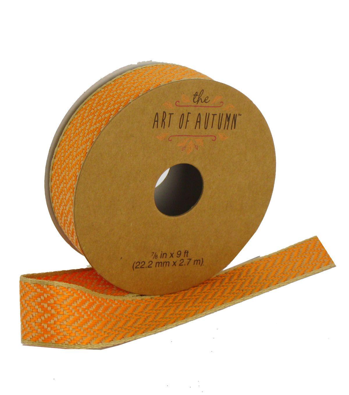 Art of Autumn Ribbon 7/8''x9'-Chevron   Products   Fabric