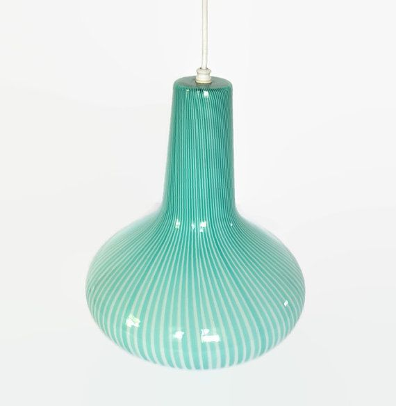 Large Vintage Murano Glass Pendant Light With Turquoise Stripes