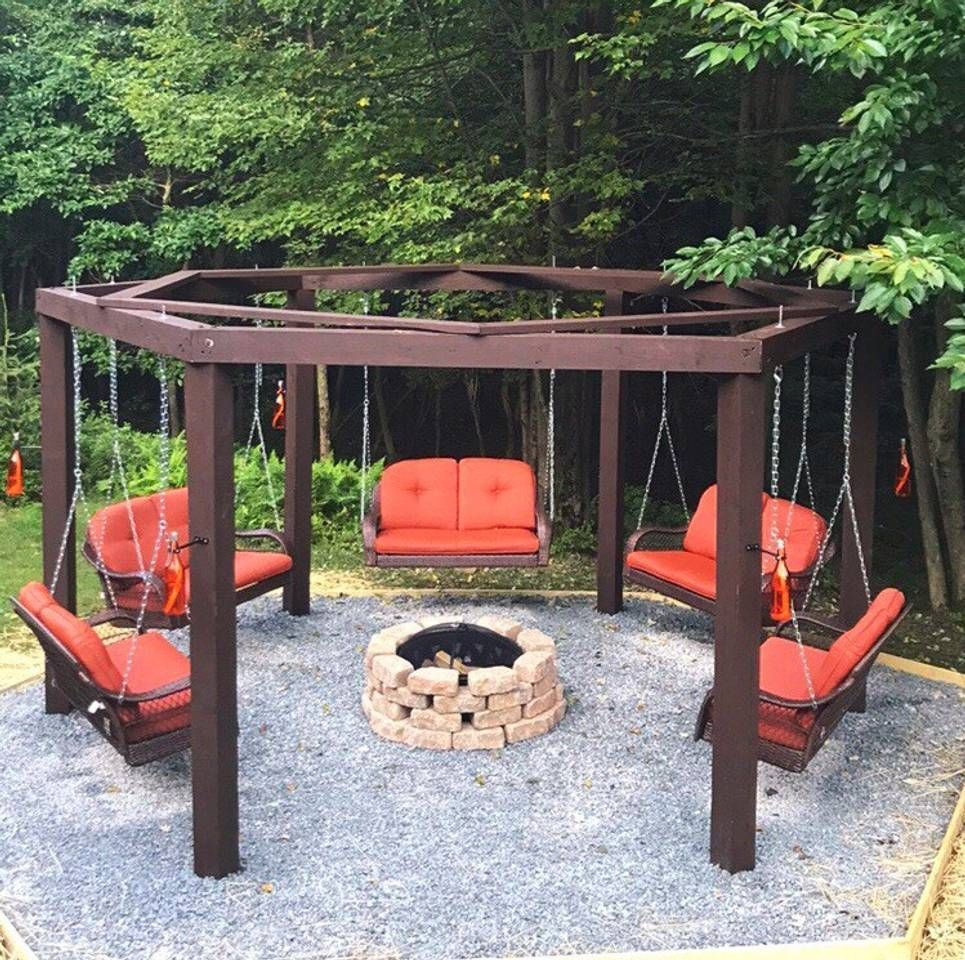Brand New Custom Built Luxury Swingset Fire Pit With Tiki Torches Fire Pit Plans Outside Fire Pits Fire Pit Swings