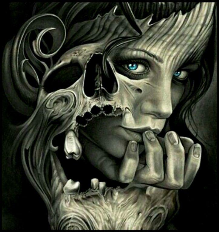 Девушки с черепом арт