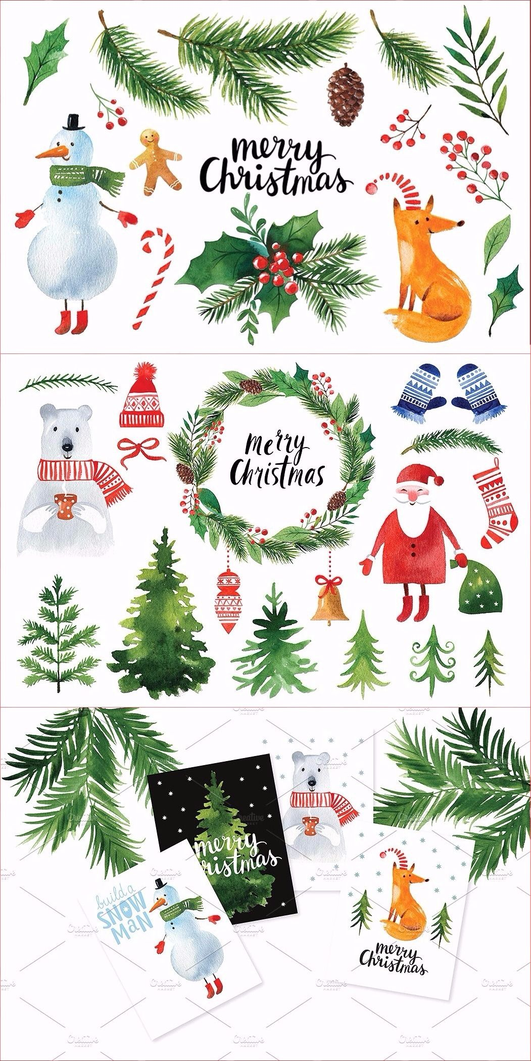 Watercolor Christmas Clipart Christmas Watercolor Christmas