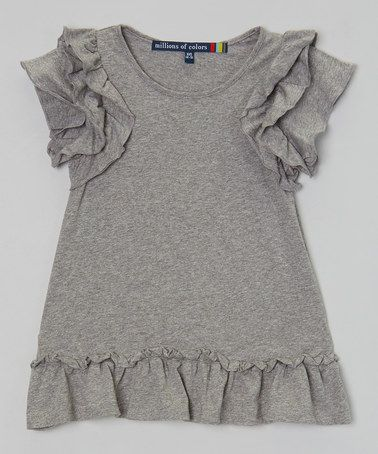 Look what I found on #zulily! Heather Gray Ruffle Angel-Sleeve Dress - Girls #zulilyfinds