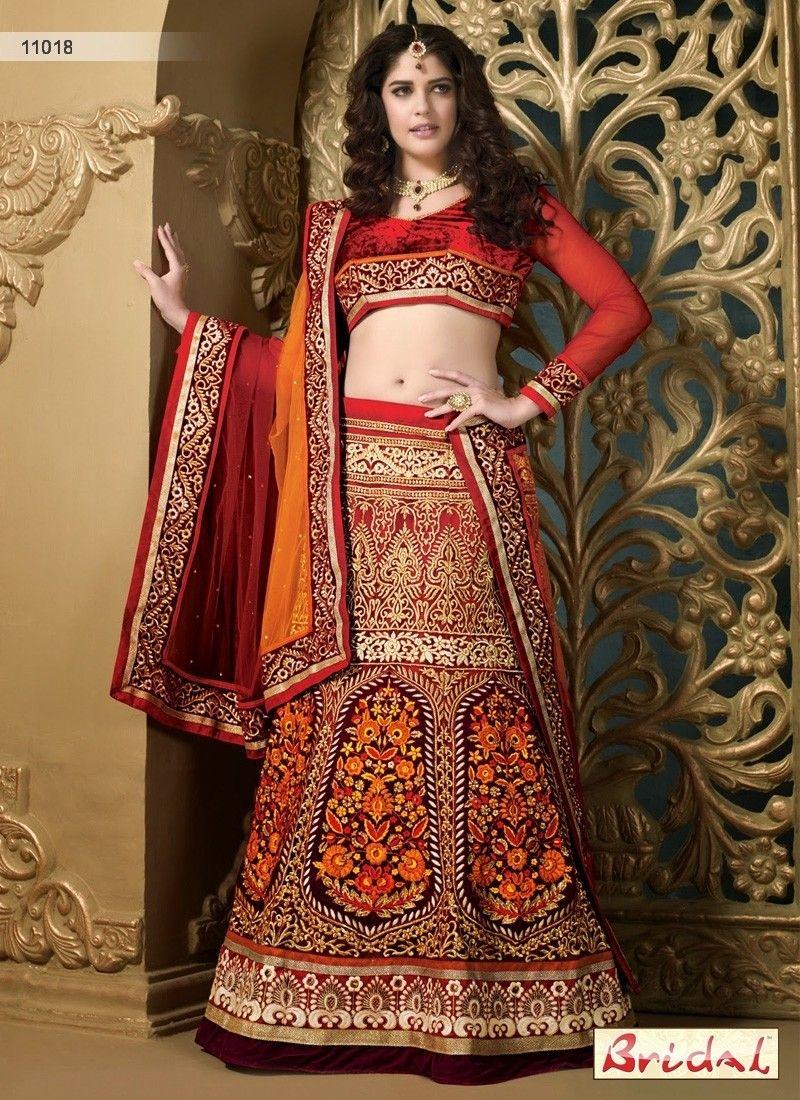 9a094c3d73 Marvelous Red And Wine Wedding Lehenga Choli | saree ideas | Bridal ...