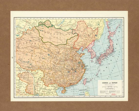 Vintage map of China Japan Korea from 1940 Antique 1940s     Vintage map of China Japan Korea from 1940 Antique 1940s placesintimemaps  bright on Etsy   14 00