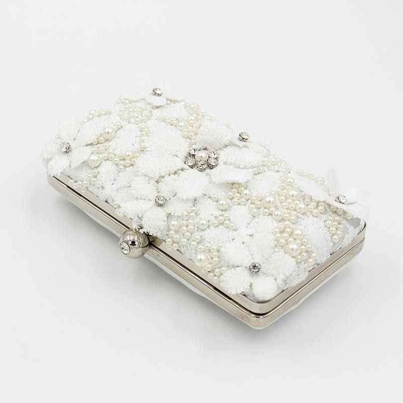 39bb422b81bf9 White Pearl Flowers Box Evening Clutch Purse Lace Floral Wedding Bags