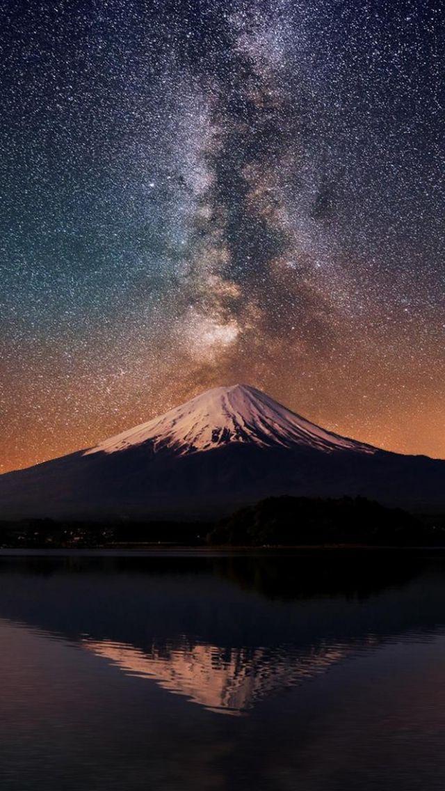 Milky Way Over Mt Fuji #iPhone #5s #Wallpaper | iPhone 5~SE Wallpapers in 2019 | Fuji Mountain ...