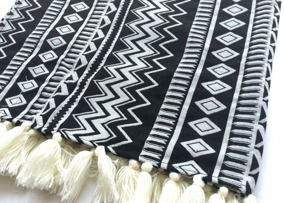 Bohemian Throw Blankets Tribal Aztec Blanket  Black And White Bohemian Throw Blanket 39 X