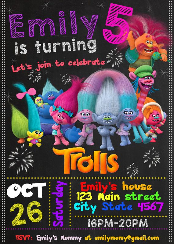 Trolls Birthday Invitation By HappyColorsDesign On Etsy