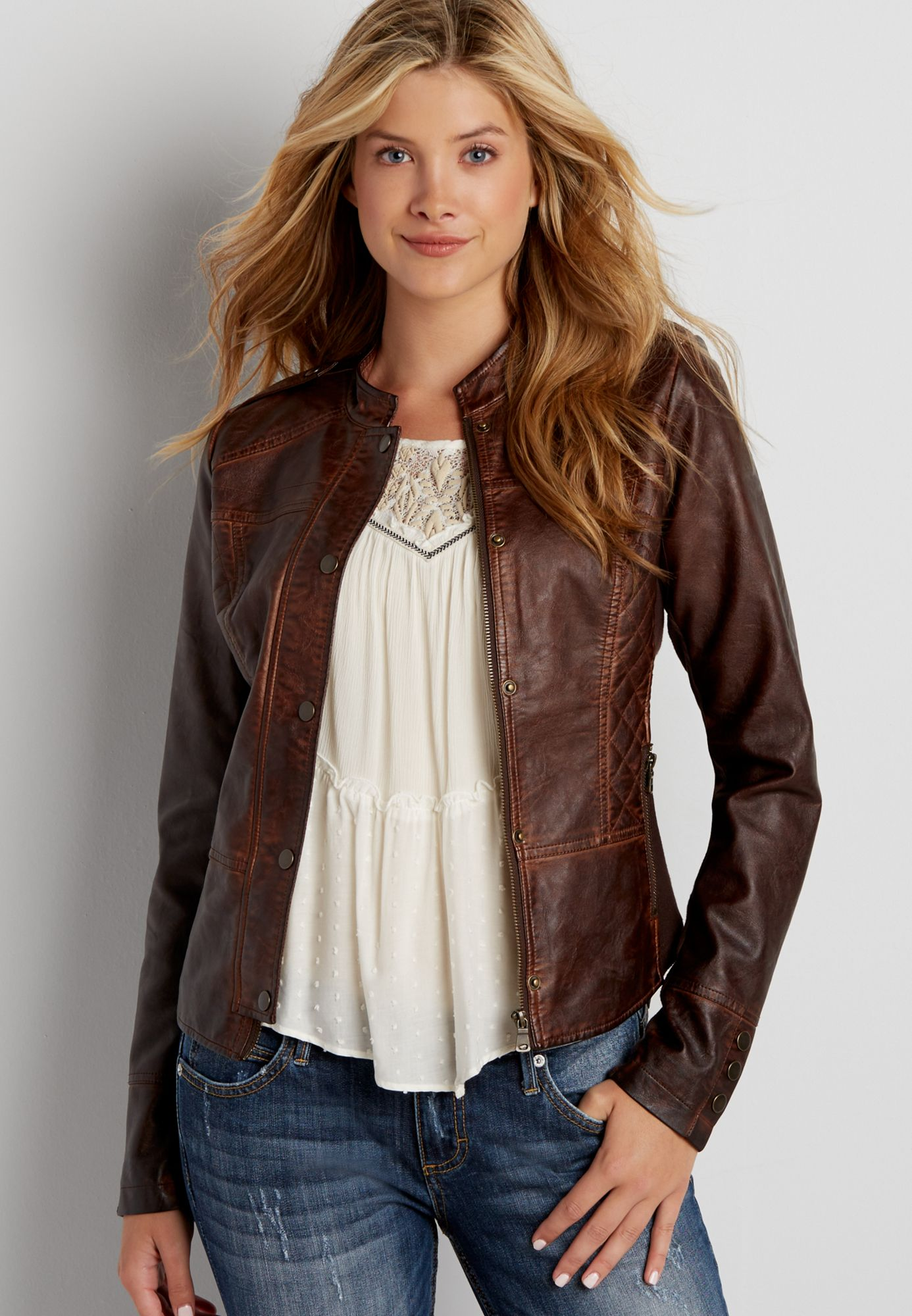 faux leather moto jacket with knit sides and quilted